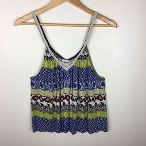 Free People Boho Floral Tank with Lace Straps